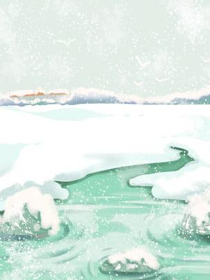 完全な冬の雪景色の背景snow lake cartoon snow scene , 冬の雪の背景, 雪が降る, 湖面 背景画像
