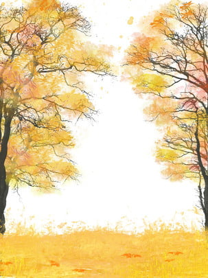 fully simple hand drawn trees deciduous autumn background , Autumn Scenery, Tree Background, Fallen Leaves Background image
