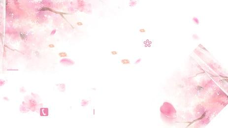 Girl heartピンクの花びらの広告の背景 10代の心 新鮮な 手描き 花びら 支店 花 ロマンチックな 広告の背景 10代の心 新鮮な 手描き 背景画像