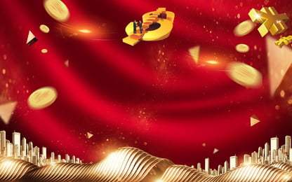 gold coin building premium advertising background, Advertising Background, Festive, Chinese Style Background image