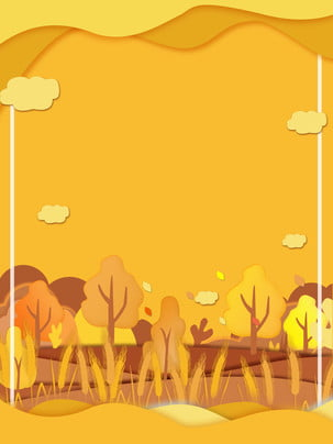 金燦燦樹林廣告背景 , 廣告背景, 清新, 黃色背景 背景圖片