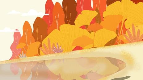 金黃色樹葉秋季背景設計, 橙色, 金黃色, 秋季背景 背景圖片
