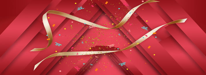 golden ribbon colorful fireworks red geometric three dimensional stacking background, Golden Ribbon, Colored Fireworks, Red Background image