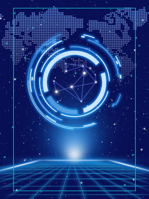 Gradient thế giới công nghệ màu xanh nền Độ Dốc Thế Hình Nền
