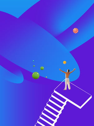 Gradient Color Staircase Smart Technology Background Man,ball,data Information,information Technology,data, Material, Artificial, Intelligence, Background image