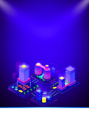 gradient purple three dimensional building smart technology background , Technology, Intelligent, Stereoscopic Background image