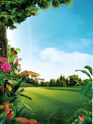 green beautiful real estate background material , Beautiful Background, Property Background, Real Estate Material Background image