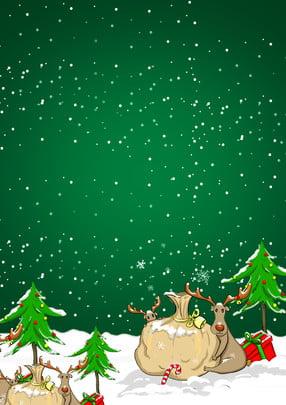 綠色聖誕節主題背景 , 綠色, 聖誕樹, 麋鹿 背景圖片