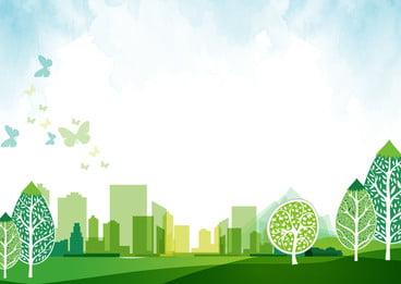 green city cartoon background, Blue Sky, Green Wood, Grassland Background image