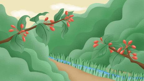 綠色青蔥樹林小路背景設計 清新 綠色 樹林小路背景圖庫