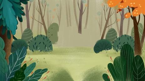 Phim hoạt hình nền màu xanh lá cây trong rừng Hoạt Hình Trong Hình Nền