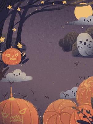 Halloween carnival little witch và pumpkin elf ghost chất liệu nền Nền Halloween Nền Hình Nền