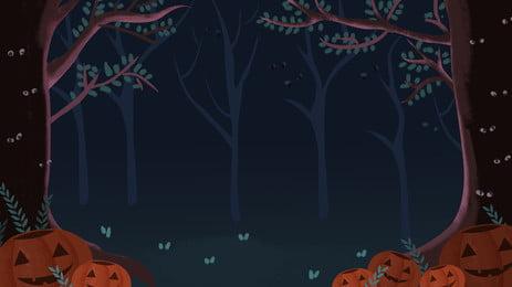 हैलोवीन रहस्यमय वन पृष्ठभूमि डिजाइन छुट्टी हाथ खींचा पृष्ठभूमि छवि