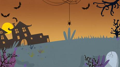 ハロウィーンの夜の背景 ハロウィン広告 月 城 ゴースト バット 漫画の背景 ハロウィン背景ボード お化け屋敷 ハロウィン広告 月 城 背景画像