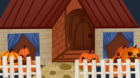 ハロウィーンの夜のカボチャの背景 漫画 ハロウィーンの背景 休日の背景 背景画像