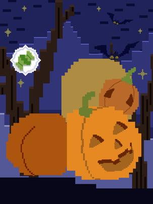 halloween vintage pixel phong cách bí ngô nền , Nền Halloween, Nền Kỳ Nghỉ, Nền Pixel Ảnh nền