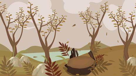 Mùa thu cây bài hát nền bằng tay bên bờ sông Mùa đông đúc Hình Nền