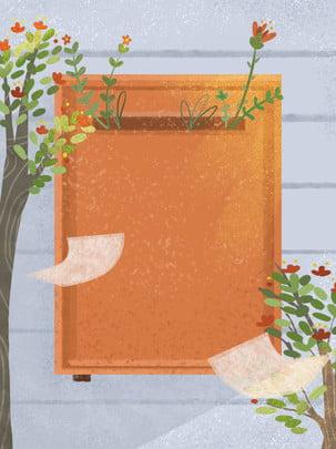 mão desenhada fundo de caixa correio botânica , Mão Desenhada, Caixa Postal, Paper Imagem de fundo