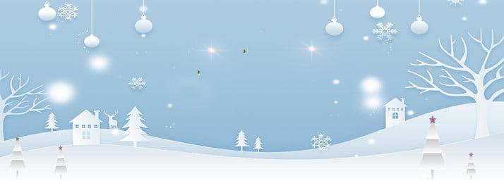 Mão desenhada cartoon fundo de banner de Natal azul claro Elk Floco de neve House Grande Elk Floco Mão Imagem Do Plano De Fundo