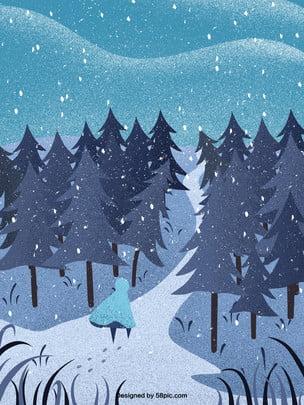 Homem de mão desenhada cartoon andando no material fundo neve Mão Desenhada Caricatura Imagem Do Plano De Fundo