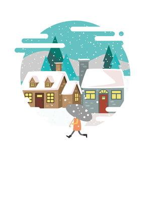Homem de mão desenhada cartoon andando no material fundo inverno neve Mão Desenhada Caricatura Imagem Do Plano De Fundo