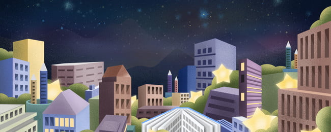 Hand Drawn City Building Background Material Under Night Sky Painted,night Sky,city,building,high Building,city, Background, Advertising, Background, Background image