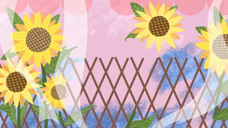 手繪創意向日葵籬笆背景設計, 清新, 可愛, 彩色 背景圖片