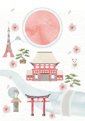 手描きかわいい日本の風景広告の背景 , 北京の広告, 新鮮な, 素敵な風 背景画像
