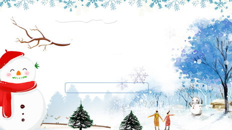 手描きの背景を歩いて森のカップル 広告の背景 新鮮な 雪だるま 冬 雪が降る 手描き カップル 松の木 広告の背景 新鮮な 雪だるま 背景画像