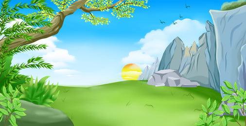 हाथ से तैयार ताजा पर्वत वन चित्रण पृष्ठभूमि डिजाइन, हाथ खींचा हुआ, ताज़ा, पहाड़ की वनभूमि पृष्ठभूमि छवि