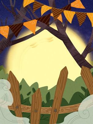 手描きハロウィーンの夜背景 , ハロウィーンの背景, 休日の背景, パンプキンヘッド 背景画像