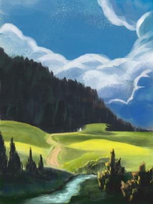 手描きの風景青い空白い雲牧草地の背景 青い空と白い雲 緑の牧草地 手描きの背景 背景画像