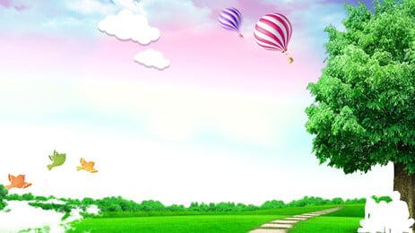 Vẽ tay nền cảnh quan xanh tự nhiên Phong Cảnh Thiên Hình Nền