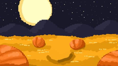 Ручной обращается пиксель фон ночь Хэллоуин Рисованной Темная ночь луна тыква Хэллоуин фон? Хэллоуин Хэллоуина Карнавальная ночь Фоновое изображение