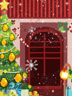 hand drawn red house christmas tree background material , Hand Painted, Red House, Christmas Tree Background image