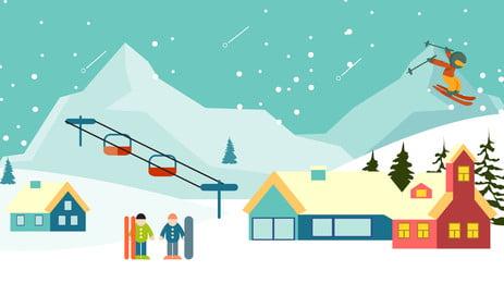 latar belakang pengiklanan ski salji ditarik tangan, Latar Belakang Pengiklanan, Tangan Ditarik, Gunung Salji imej latar belakang