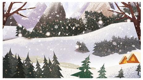 Cena de neve desenhada mão calendário ano porco material fundo capa Mão Desenhada Cena Imagem Do Plano De Fundo