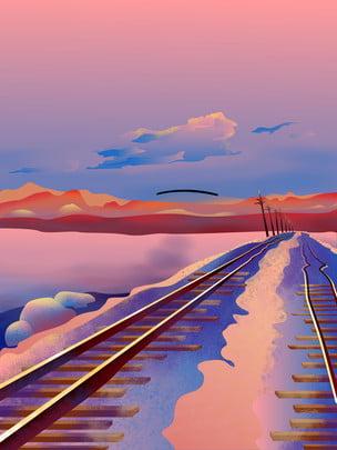 手繪夕陽西下鐵路背景素材 手繪 夕陽西下 鐵路背景背景圖庫
