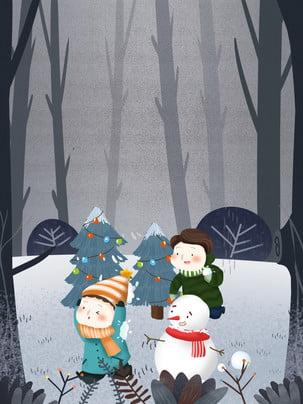 Hand Drawn Twenty-four Solar Terms Cartoon Children Background Material Painted,twenty-four Solar Terms,cartoon,child,forest,snowman,winter, Background, 24, Solar, Background image