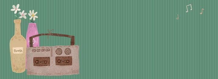 fundo de flor mão desenhada vintage vento tape, Verde Escuro, Mão Desenhada, Retro Imagem de fundo