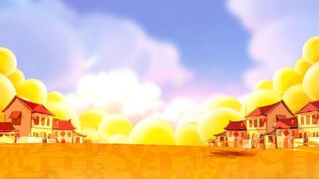 من ناحية رسم حقل القمح قرية خلفية التصميم, خلفية مرسومة باليد, راية الخلفية, مهرجان الحصاد صور الخلفية