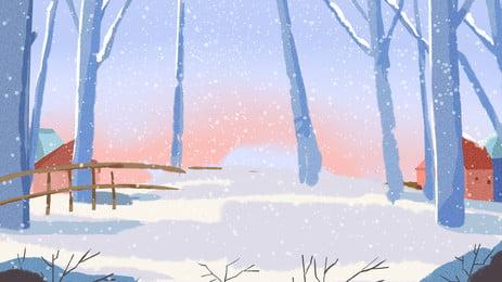हाथ से खींची गई सर्दियों की बर्फीली जंगल पृष्ठभूमि, लकड़ी, बर्फीली पृष्ठभूमि, चौबीस सौर शब्द पृष्ठभूमि छवि
