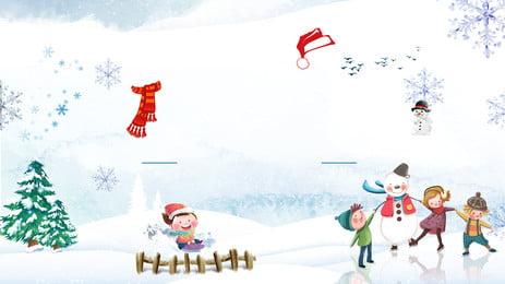 手繪冬天雪花廣告背景, 廣告背景, 雪人, 雪景 背景圖片