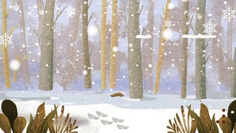 手繪冬季樹林雪景背景素材, 手繪, 冬季背景, 雪花 背景圖片