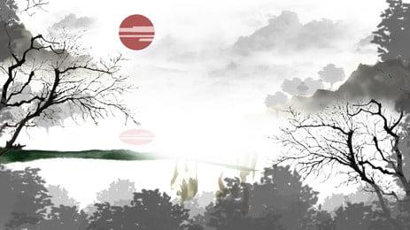 手塗り古代風遠くの山の森の背景素材, 赤い日, 太陽, ファーマウンテン 背景画像