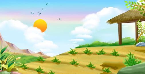 早春の黄色い土地に手描きの背景素材, 手描き, わらパビリオン, 太陽 背景画像