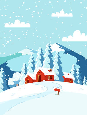 Hand-painted Beautiful Snow House Winter Background Material Painted,beautiful,snow House,forest,snowflake,winter,happy Winter,winter,snowman,winter, Morning, Background, Background, Background image