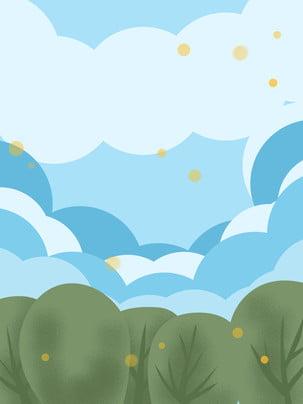 Vẽ tay trời xanh mây trắng chất liệu nền Vẽ Tay Bầu Hình Nền