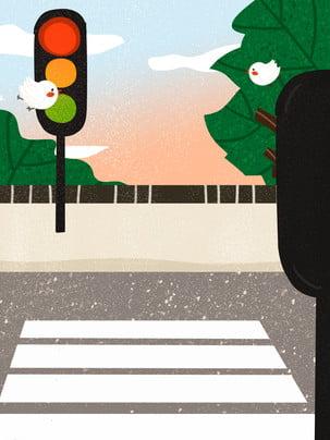 Vẽ tay hoạt hình chim bay an toàn giao thông văn minh nền du lịch vật liệu Vẽ Tay Phim Hình Nền