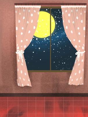 हाथ से पेंट क्रिसमस खिड़की तारों आकाश पृष्ठभूमि सामग्री , हाथ खींचा हुआ, खिड़की से, तारों वाला आकाश पृष्ठभूमि छवि